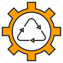 cog, gear, recycle icon