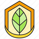 eco, ecology, environment, leaf, nature, safe, shield icon