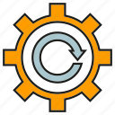 arrow, cog, gear icon