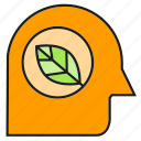 eco, ecology, environment, head, leaf, nature, think icon