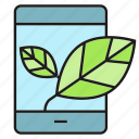 eco, ecology, electronic, leaf, mobile, smart phone icon