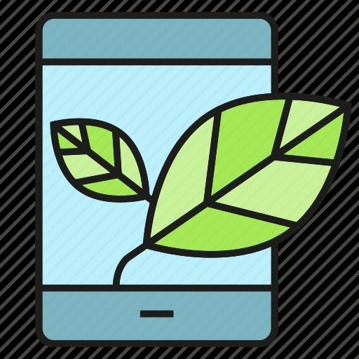 eco, ecology, electronic, leaf, mobile, smart phone icon