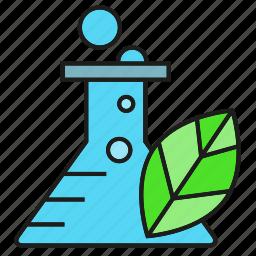 bio, eco, flask, leaf, nature, tube icon