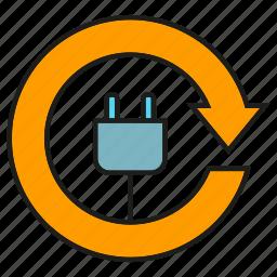 arrow, electricity, energy, plug, save icon