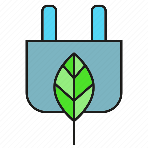 eco, ecology, eletricity, energy, environment, leaf, plug icon