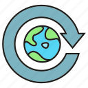 arrow, eco, ecology, environment, globe, nature, world icon