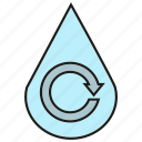 drop, recycle, reuse, water icon