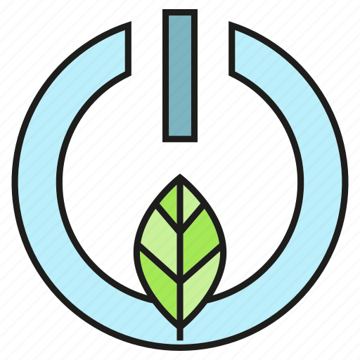 leaf, nature, power, reset, start icon