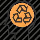 eco, ecological, ecology, energy, recycle, save, thinking icon