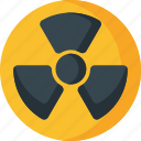 atom, atomic, danger, nuclear, research, science, warning icon
