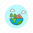 ecology, ecosystem, environment, globe, half, mountain, nature, tree icon