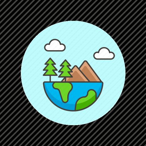 ecology, ecosystem, environment, globe, half, mountain, nature, tree icon