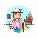 animal, barn, ecology, farmer, feed, hayfork, woman icon