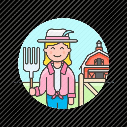 animal, barn, ecology, farmer, feed, hayfork, woman icon