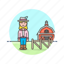 agriculture, animal, barn, ecology, farmer, woman icon