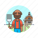 agriculture, animal, barn, ecology, farmer, feed, hayfork, man icon