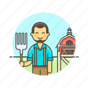 animal, barn, ecology, farmer, feed, hayfork, man icon