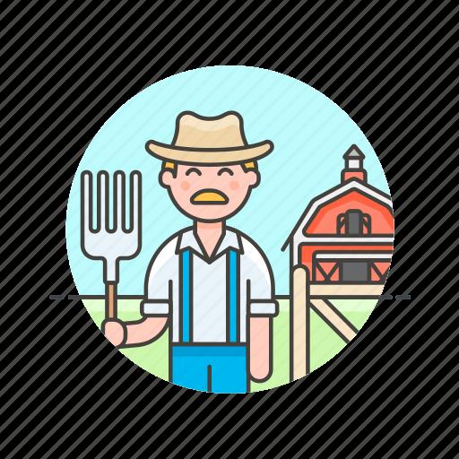 animal, barn, ecology, farmer, feed, hayfork, man icon