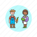 buy, ecology, exchange, farmer, man, sell, vegetable, woman icon