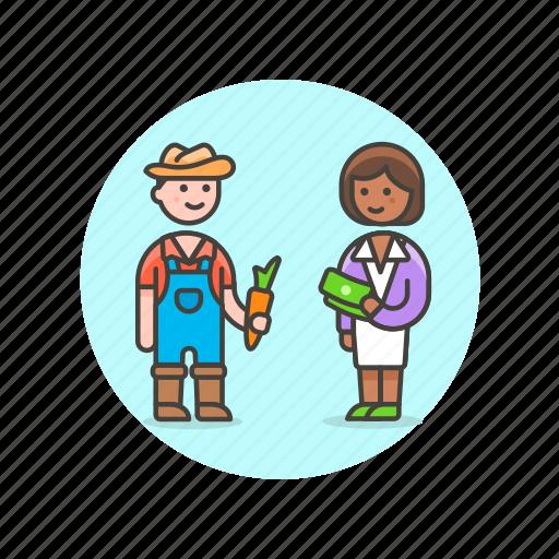 buy, ecology, exchange, farmer, man, sell, vegetable, woman icon