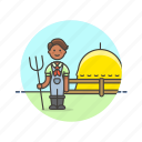 agriculture, ecology, farmer, field, food, hay, hayfork, man icon
