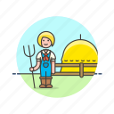 agriculture, ecology, farmer, hay, hayfork, nature, prepare, woman icon