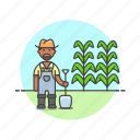 ecology, farmer, dig, man, plant, seed, shovel, tree