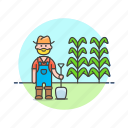 ecology, farmer, agriculture, dig, man, shovel, tree, seed