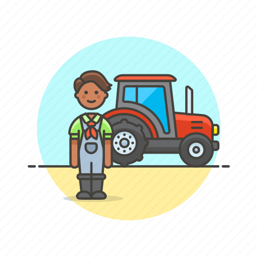 agriculture, ecology, farmer, field, man, tractor, vehicle icon
