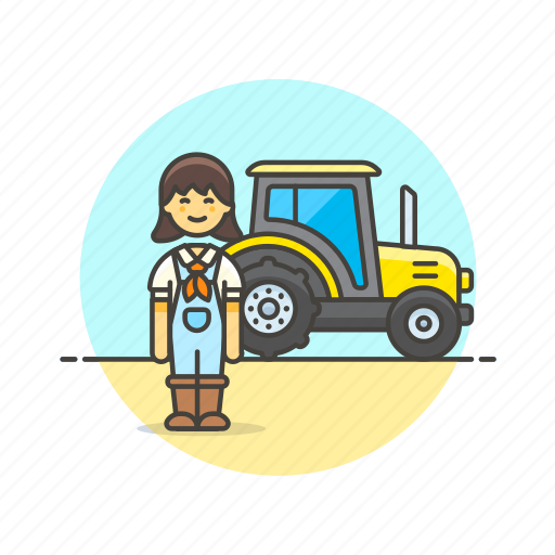 agriculture, ecology, environment, farmer, nature, tractor, woman icon