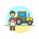 ecology, environment, farmer, man, tractor, vehicle, work icon
