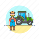 agriculture, ecology, environment, farmer, man, tractor, vehicle, work icon