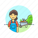 collect, cut, ecology, farm, gardener, machine, vegetable, woman icon