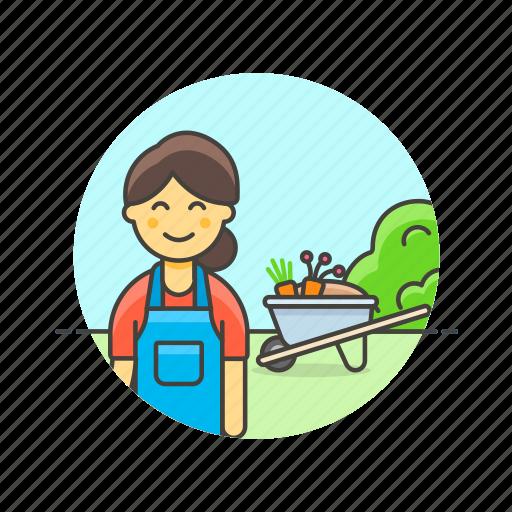 collect, cut, ecology, farm, gardener, machine, vegetable, woman icon