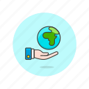 ecology, globe, hand, gesture, hold, nature, preserve, save icon