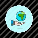 ecology, globe, hand icon