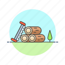 ecology, log, lumber, nature, saw, tree, wood icon