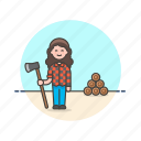 axe, chop, ecology, log, lumberjack, woman, wood icon