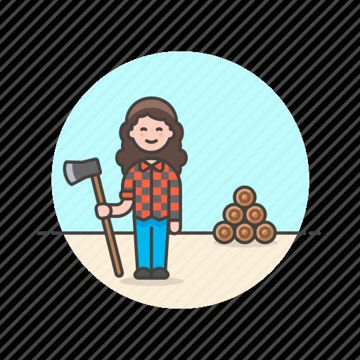 axe, chop, ecology, log, lumberjack, woman, wood icon