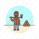 axe, chop, cut, ecology, log, lumberjack, man, wood icon