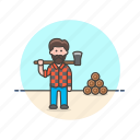 axe, chop, ecology, log, lumberjack, man, wood icon
