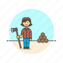 asian, ecology, female, lumberjeck icon