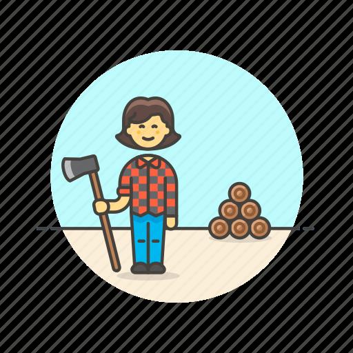 axe, chop, ecology, log, lumberjeck, woman, wood icon