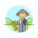 agriculture, ecology, environment, farmer, hay, rice, woman icon