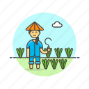 collect, ecology, farmer, field, pick, sickle, vegetable, woman icon