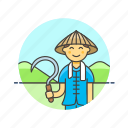 ecology, farmer, rice, agriculture, cut, man, sickle