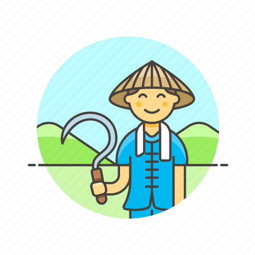 agriculture, cut, ecology, farmer, man, rice, sickle icon