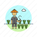 asian, ecology, farmer, male, rice icon