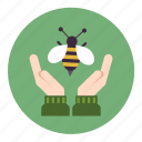 bee, care, ecology, hive, honey, human, nature icon