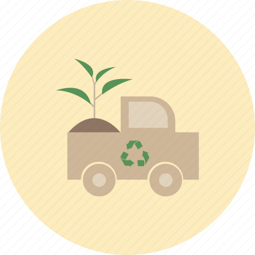 conservative, ecology, environment, nature, plant, recycle, truck icon